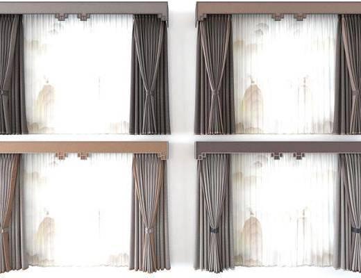 新中式, 窗帘, 单体