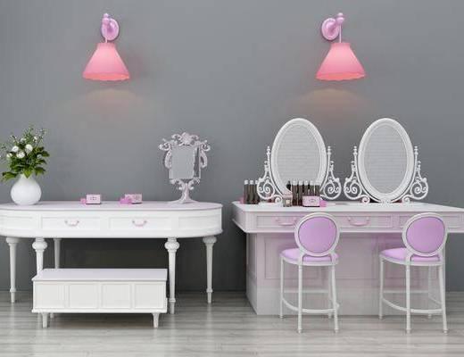 梳妆台, 化妆品, 花瓶, 凳子, 壁灯组合, 单人椅, 吊灯, 欧式