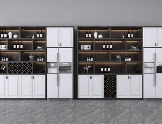酒柜, 装饰柜, 酒瓶, 冰箱, 现代