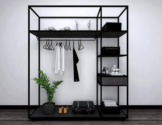 衣柜, 装饰架, 装饰品, 陈设品, 盆栽, 工业风