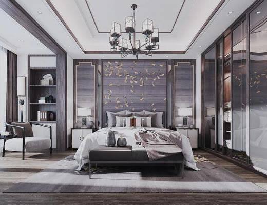 吊燈, 床尾踏, 衣帽柜, 雙人床, 背景墻, 單椅