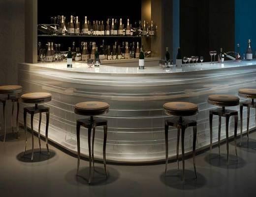 酒吧, 吧台, 吧椅, 现代, 酒架, 下得乐3888套模型合辑