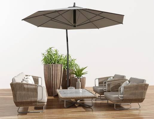遮阳伞组合, 藤椅, 休闲椅, 躺椅
