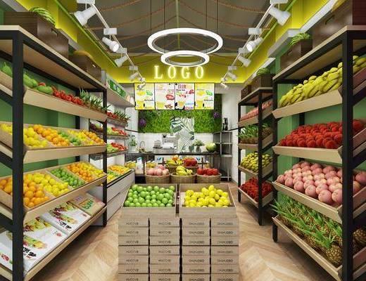 货架, 水果, 前台, 吊灯, 植物墙, 现代