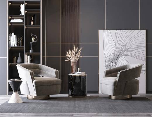 單椅, 茶幾, 裝飾畫
