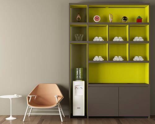 装饰柜, 摆件, 现代, 单人椅, 茶几