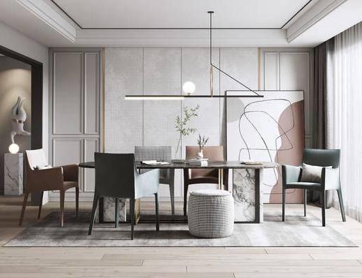 现代餐厅, 茶桌椅, 吊灯, 装饰画