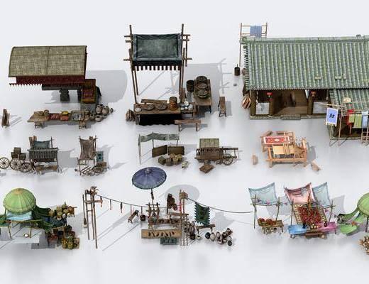 杂货摊位, 古建筑, 门面门头, 中式