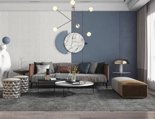 多人沙发, 休闲椅, 吊灯, 墙饰, 摆件组合