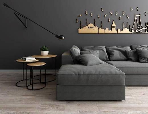 沙发组合, 多人沙发, 转角沙发, 边几, 壁灯, 墙饰, 摆件, 北欧