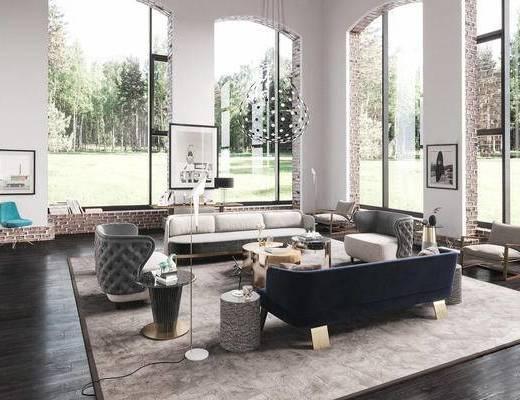 现代客厅, 沙发组合, 休闲椅, 吊灯, 落地灯, 挂画, 边几