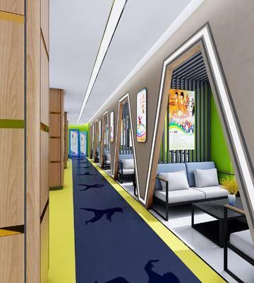 现代, 走廊, 休息区, 学校