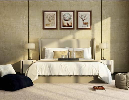 现代, 床具, 双人床, 床头柜, 台灯, 挂画, 休闲椅, 沙发凳, 懒人椅