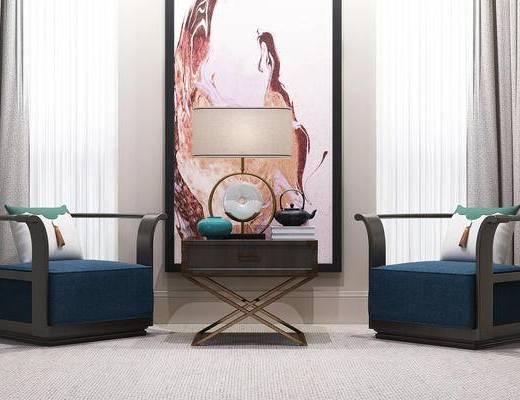 新中式, 单人沙发, 沙发, 中式, 边几, 台灯, 陈设品, 休闲沙发