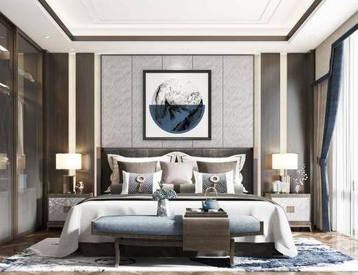 双人床, 床尾踏, 床头柜, 台灯, 挂画, 衣柜