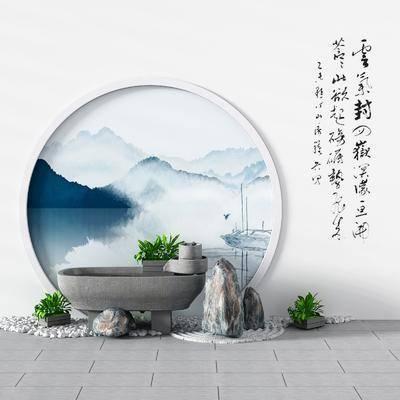 新中式景观, 景观摆件, 中式景观, 水池