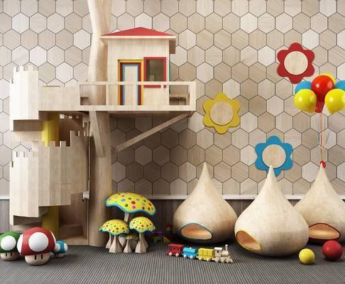 儿童早教玩具, 幼儿园房屋, 气球, 玩具, 玩具小火车, 房屋