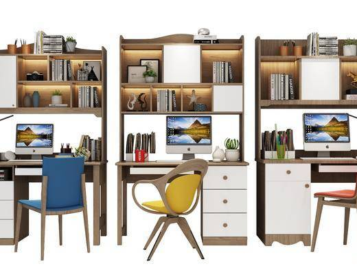 书桌, 单椅, 现代书中摆件组合, 书架, 书籍, 摆件组合, 现代
