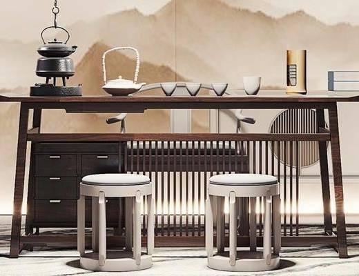 桌椅组合, 背景墙, 茶具组合, 边柜, 盆栽植物