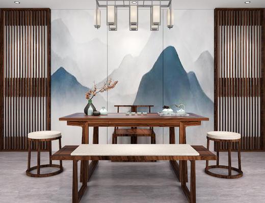 餐桌椅, 桌椅组合, 吊灯, 凳子, 桌子, 中式