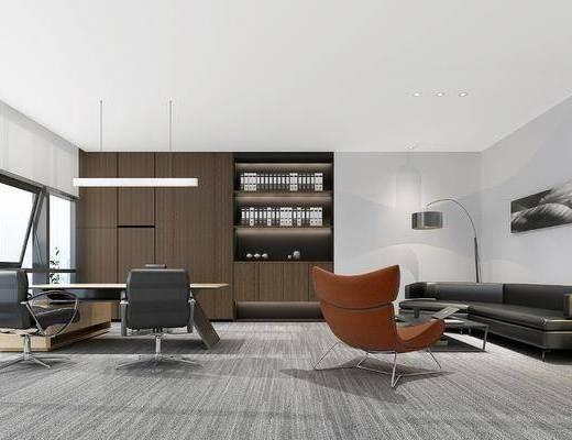 董事长室, 办公桌, 单人椅, 多人沙发, 落地灯, 吊灯, 装饰柜, 摆件, 装饰品, 陈设品, 现代