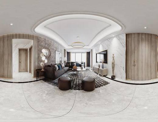 客厅, 沙发组合, 电视柜, 吊灯, 地毯, 单椅