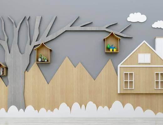 儿童背景墙, 装饰墙组合, 墙饰, 现代