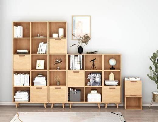 实木书柜, 书柜书籍, 装饰柜, 摆件组合, 北欧