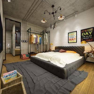 工业风, 卧室, 衣服, 边几, 台灯, 吊灯, 双人床
