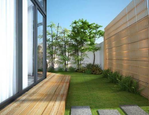 花园景观, 花园庭院, 草地, 竹子, 树木, 绿植植物, 新中式