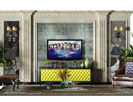 电视墙, 背景墙, 电视背景墙, 盆景, 植物, 电视柜, 椅子, 沙发椅, 欧式, 单人沙发