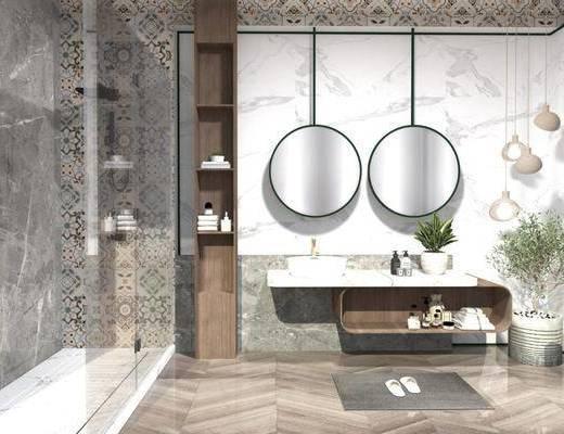 卫浴组合, 洗手盆, 壁镜, 植物, 浴柜组合