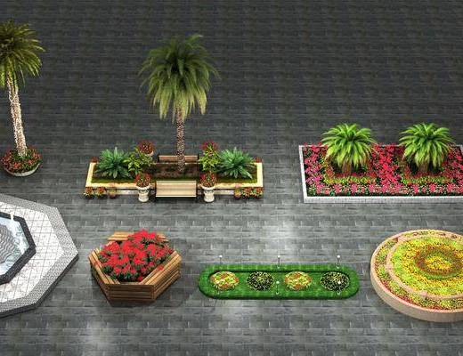 花坛, 喷泉, 园林景观, 树木, 植物