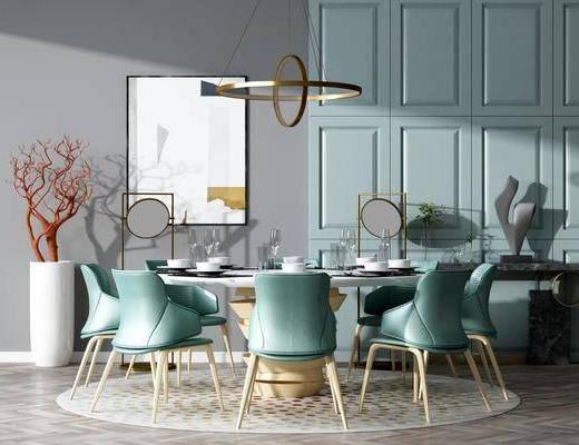 桌椅组合, 餐桌, 餐椅, 单人椅, 餐具, 装饰画, 挂画, 吊灯, 花瓶, 干树枝, 现代