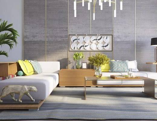 现代沙发茶几饰品组合, 现代沙发, 现代, 茶几, 现代吊灯, 摆件, 植物