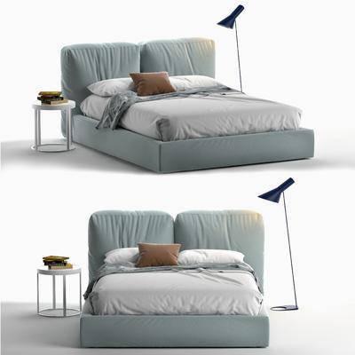 双人床, 床具组合, 落地灯, 边几, 摆件