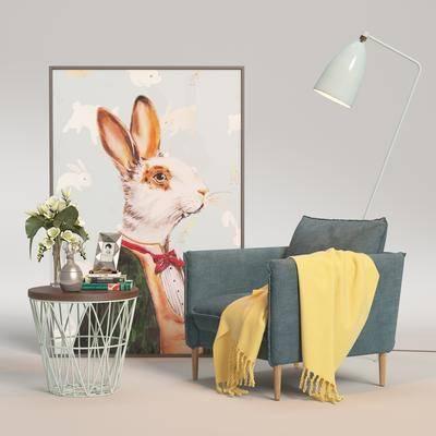 单人沙发, 沙发椅, 休闲椅, 茶几, 装饰画