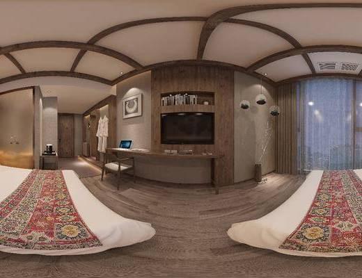 民宿, 单人沙发, 书桌, 单人椅, 装饰柜, 边几, 吊灯, 墙饰, 新中式