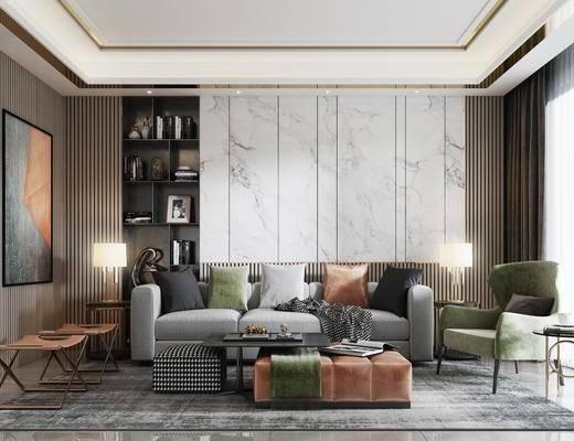沙發組合, 茶幾, 裝飾柜, 背景墻, 裝飾畫