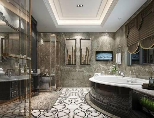 后现代, 卫浴, 卫生间, 浴缸, 淋浴间, 挂画, 洗手台