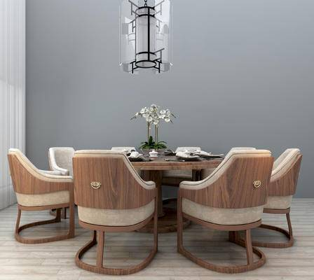 餐桌椅, 椅子, 餐桌, 吊灯, 餐具, 新中式