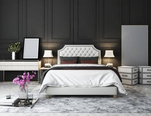 北欧卧室, 现代卧室, 床头柜组合, 床具, 镜子