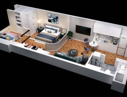 现代公寓, 公寓, 沙发组合, 双人床, 卧室, 客厅