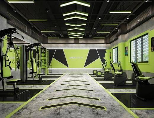 健身房, 健身器材, 健身室, 工业风