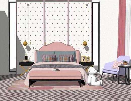 单人床, 吊灯, 单椅, 床头柜, 床尾踏