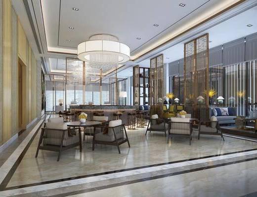 接待区, 售楼处, 桌椅组合, 吊灯, 沙发组合