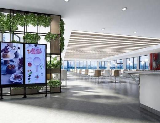 餐厅, 食堂, 餐桌, 餐椅, 单人椅, 植物墙, 吊灯, 置物架, 绿植, 摆件, 现代