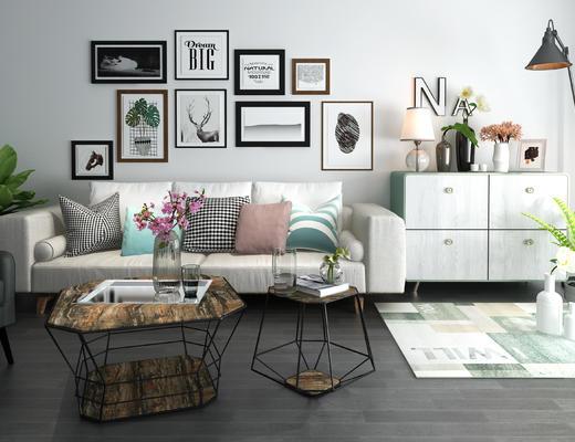 沙发组合, 现代沙发, 沙发茶几组合, 茶几, 装饰画, 边柜, 陈设品, 台灯