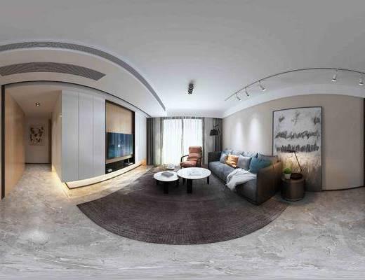 客厅, 现代, 沙发, 多人沙发, 茶几, 挂画