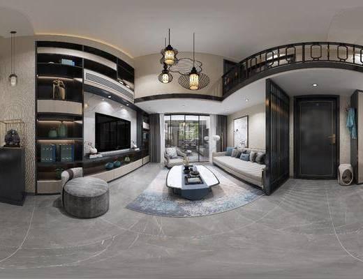 新中式客厅, 客厅, 沙发组合, 餐桌椅, 餐厅